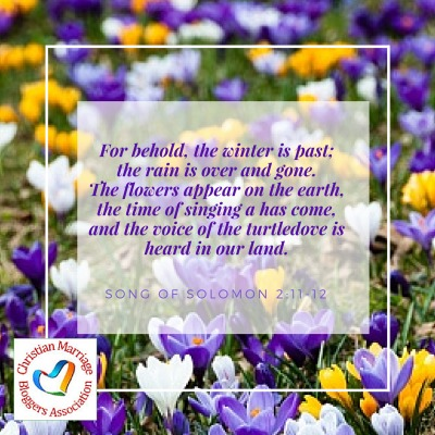 For behold, the winter is past; the rain is over and gone. The flowers appear on the earth, the time of singing[a] has come, and the voice of the turtledove is heard in our land.    Song of Solomon 2:11-12